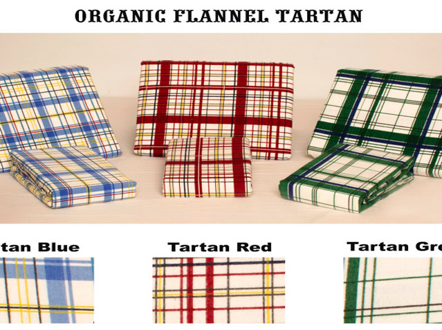 "Organic Flannel – Tartan Flannelette Fitted Sheets and Pillow Cases. SPECIAL!!!  <strike>Reg $43.98 - $59.98 </strike> <font color=""red"">Now $8.98 - $16.98 </font>"