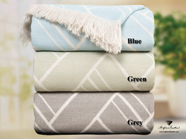 "Acrylic Throws in Blue and Gree Reg <strike>Reg $26.98 </strike><font color=""red"">Now $9.98 </font>"