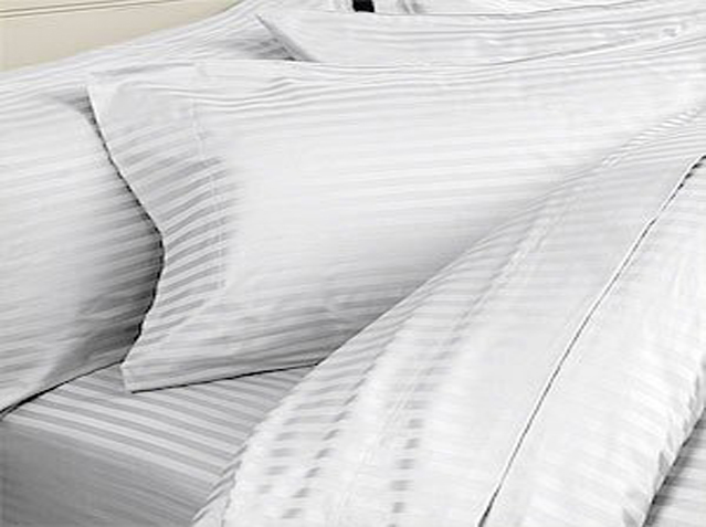 Hotel White Damask Stripe Sheets, Duvet Covers, Shams, Body Pillow Covers,  $12.98 – $94.98