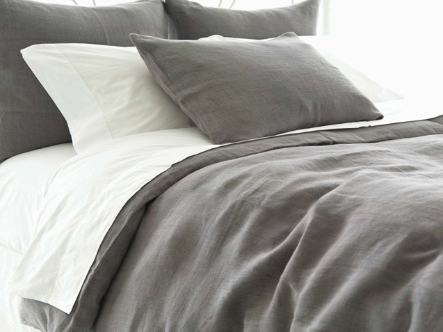 Stone-Washed 100% Belgian Linen Duvet Cover set 30% Off Medium Grey